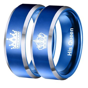 His Queen Her King Stainless Steel & Blue Lovers Ring