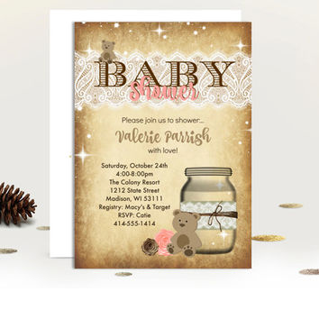 Rustic Baby Shower invitation mason jar teddy bear rustic boy or girl pink or blue printed or printable baby shower invites vintage lace jar