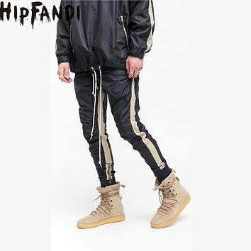 HIPFANDI High Street 2017 New Four Pieces Of Zipper Good Quality Joining Together Pants Hiphop Jogger Fashion Beam Foot Trousers