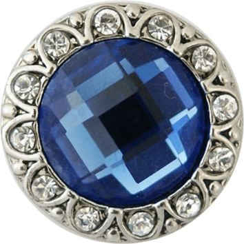 "Snap Charm Blue Crystal Center 20mm, 3/4"" Diameter"