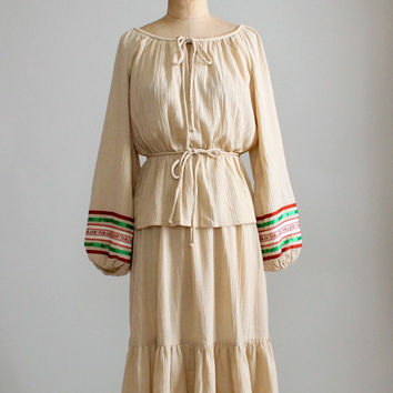 Vintage 1970s Cotton Hippie Top and Skirt Dress Set