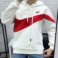 Nike Autumn Winter Fashion Women Men Casual Hoodie Velvet Sweater Top Sweatshirt White