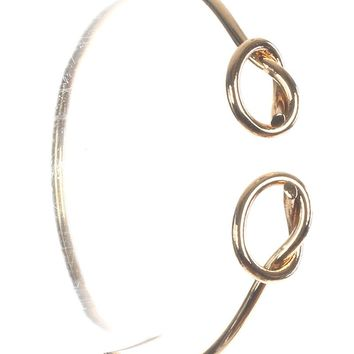 Gold Double Knot Metal Wire Cuff Bracelet