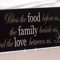 Bless the Food Before Us, the Family Beside Us Sign, Wall Decor, Kitchen Sign, Wood and Vinyl Sign