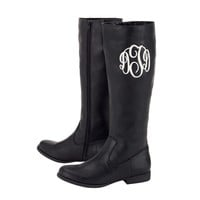 Personalized Monogrammed Brooklyn Boots Black