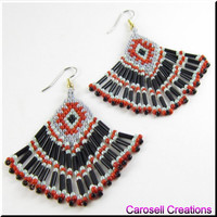 Native American Spirit Beadwork Dangle Fringe Seed Bead Earrings