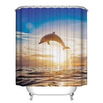 12 Hooks Underwater Fish Bathroom Shower Curtain Home Decor Waterproof Polyester