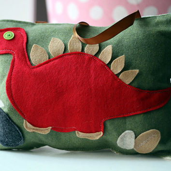 Tooth Fairy Pillow for boys, handmade, nursery decor, baby shower gift, kids room decor, birthday gift, travel pillow, felt toy, RED DINO