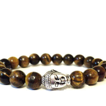 Tiger's Eye Buddha Mala Bracelet Protection Yoga Jewelry Om Spiritual Meditation Christmas Stocking Stuffer Gift For Her or Him Under 30