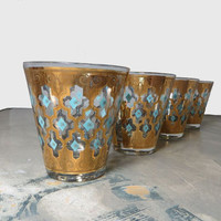 Culver Glassware Mid Century Glasses Glass Tumblers Mad Men Glassware Turquoise and Gold