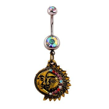 Medical steel star moon belly button ring Body jewelry navel piercinglabret nombril acier chirurgical piercing ombelico