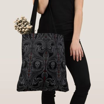 Goth Gray Ornament with Skull Tote Bag
