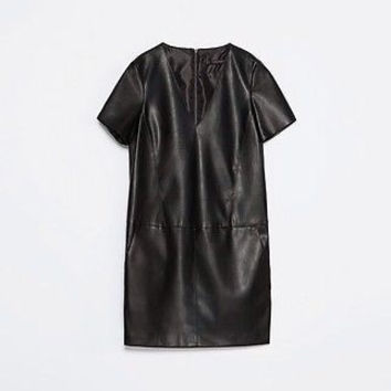 Zara Black Vegan Leather V Neck Dress