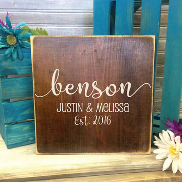 Custom Established Small Wood Sign- Primitive Home Decor, Thank you Gift, Rustic Wood Home Decor, New Home Gift, Wedding guest book