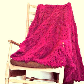 Hand Knitted Blanket - Circular Blanket - Pink Throw - Large Circular Shawl - Mohair