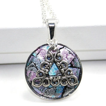 Recovery, AA, 12-Step, Pink and Powder Blue Confetti Inlay Necklace with Unity Symbol