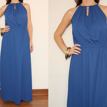 Chiffon Dress Maxi Dress Summer dress in Cobalt Blue for Women