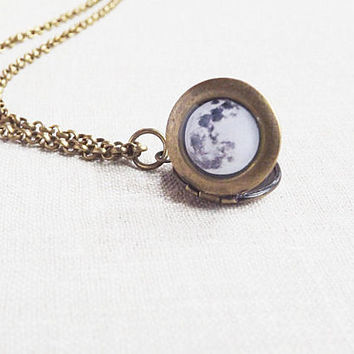 Full Moon Necklace Moon Locket Necklace Space Jewelry Tiny Necklace Night Necklace Cosmic Necklace