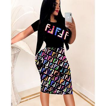Fendi Fashion New Summer Multicolor More Letter Print Women Short Sleeve Dress Coffee