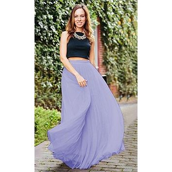 Princess For A Day Bright Vibrant Lavender Lilac Purple 7 Layer Satin Banded Waist Swiss Tulle Ball Gown Maxi Skirt - Last One!