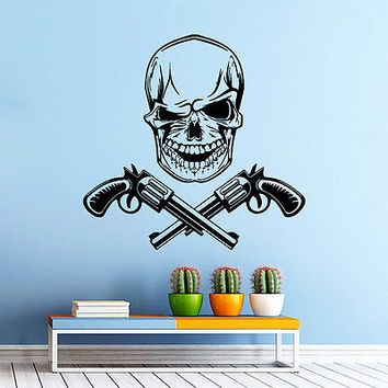 Wall Decals Skull Head Revolver Weapons Decal Bedroom Vinyl Sticker Decor DA2260