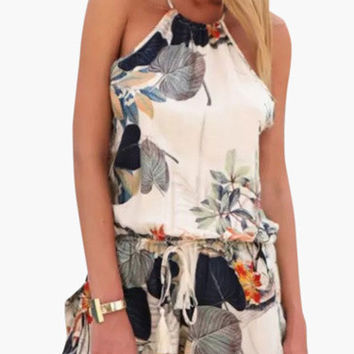 Off White Leaves Print Strappy Back Romper