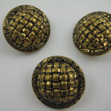 "Metal Buttons 1 1/4"" Antique Gold Finish Basket Weave Design Vintage Back Shanks"