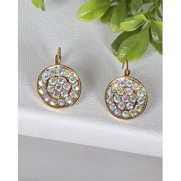 Crystal Studded Latch Back Earrings