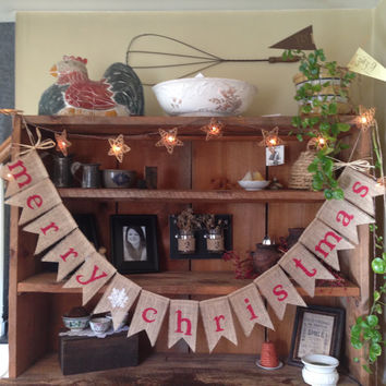 Burlap Merry Christmas Bunting in Red, Christmas Bunting, Holiday Bunting, Christmas Banner, Christmas Burlap Bunting, Snowflake Bunting