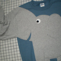 Elephant Trunk sleeve sweatshirt, sweater, jumper, adult sizes, UNISEX Medium, steel blue