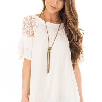 Ivory Ruffle Sleeve Top with Sheer Lace Detail