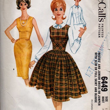 Vintage Full Skirt Swing Dress Straight Skirt Wiggle Dress Rockabilly Style 1960s McCall's Sewing Pattern Wide Midriff Waist Bust 33