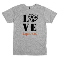 Soccer mom shirt. Personalized with player's name and number.  Soccer Love