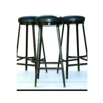 Bar Stools Metal Steel Industrial Shop Matching Set Of 3 Wrought Iron Arched Footstep Hairpin Leg Seats Chairs Mid Century Modern Steampunk