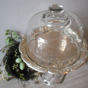 Lovely upcycled Pedestal dessert stand ... cup cake stand Cover silverplate with Glass Cloche dome