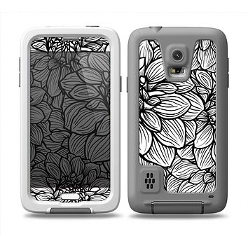 The White and Black Flower Illustration Skin Samsung Galaxy S5 frē LifeProof Case