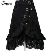 CWLSP Cool Gothic Black Skirts Women Vintage steampunk skirt Femme Irregular Hollow Out Lace Skirt saia mujer 2017 QZ1613