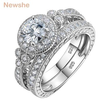 1.2 Ct Round Cut CZ 925 Sterling Silver Halo Wedding Ring Sets
