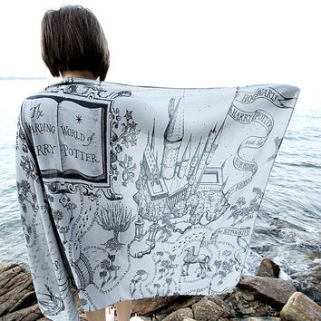 The Marauder's Map Hogwarts Harry Potter Scarf - Gray
