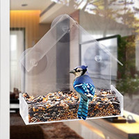 GrayBunny GB-6842 Window Bird Feeder, Clear Thick Acrylic