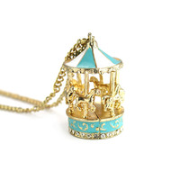 Pastel Blue Merry-Go-Round Necklace  - Retro, Indie and Unique Fashion