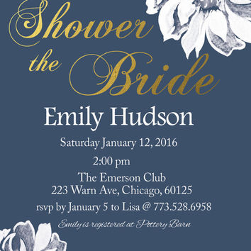 Bridal Shower invitation printable flower color customization wedding shower invite customizable modern bridal shower card digital file