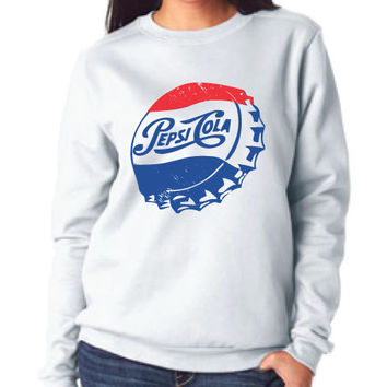 pepsi cola white crew neck sweater for women diamond - vintage sweatshirt