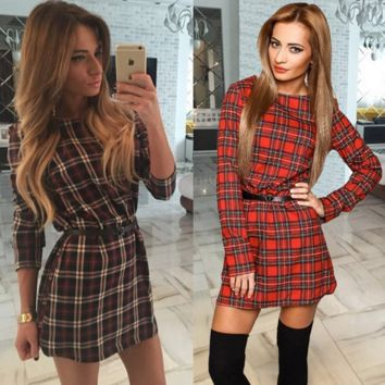 Plaid Print Long Sleeves A-Line Mini Dress