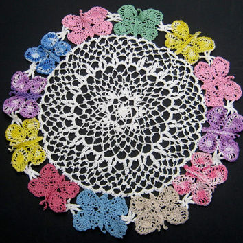"Vintage Crocheted Doily, Butterfly Doily, Hand Crocheted Doily, 13"" Round DoilyTable Topper Crochet Centerpiece Unusual Doily,Vintage Linens"