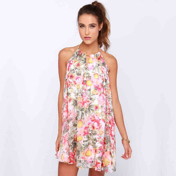 Floral Halter Open-Back Dress