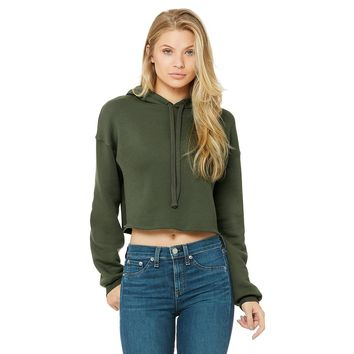Cropped Fleece Hoodie in Military Green