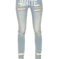 OFF WHITE - DESTROYED PRINTED COTTON DENIM JEANS - LUISAVIAROMA - LUXURY SHOPPING WORLDWIDE SHIPPING - FLORENCE