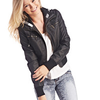 Plaid Hooded Faux Leather Bomber | Wet Seal
