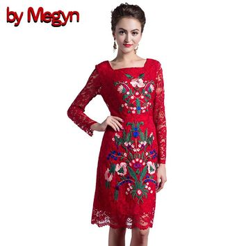 by Megyn Runway Designer Women Knee Length Vintage Bodycon Dress Slim Sheath Gorgeous Lace Embroidery Dress Women D635A